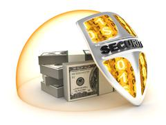Many money on a white background (done in 3d) Stock Illustration