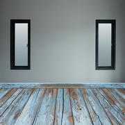 Room interior with window and wood floor Stock Photos