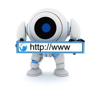 Robot and www address (done in 3d) Stock Illustration