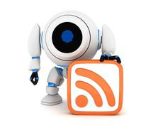 Robot and symbol RSS (done in 3d) Stock Illustration
