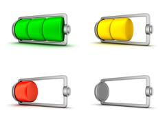 Four Icon, phone battery (done in 3d) Stock Illustration
