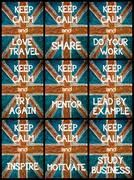 Photo collage of various Keep Calm Messages Stock Illustration