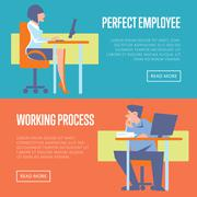 Perfect employee and working process banners Stock Illustration