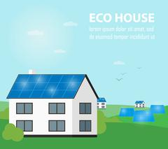 Eco house banner. Sun energy generation Stock Illustration