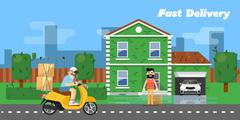 Fast delivery banner. Commercial vehicle. Stock Illustration