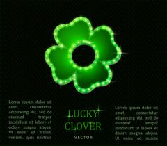 Shine lucky clover with shadow on abstract background for your design Piirros