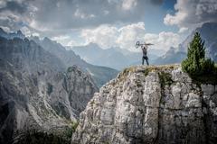 Mountain Biker Winning Concept Stock Photos