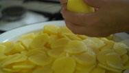 Footage woman cuts potatoes. 4k Stock Footage