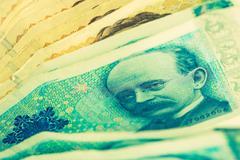 Norwegian Krone Cash Money Closeup. Krone Banknotes. Stock Photos