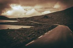 Scenic Alpine Road in Norway. Norwegian Rocky Scenery. Stock Photos