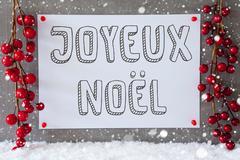 Label, Snowflakes, Decoration, Joyeux Noel Means Merry Christmas Stock Photos