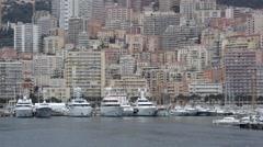 Port Hercule With Luxury Yachts in Monaco Stock Footage