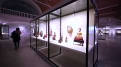 Exhibition of ancient asian gods in Hermitahe Museum, St. Petersburg, Russia Stock Footage