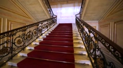 Ascending on beautiful staircase with red carpet and amazing railings. Hermitage Stock Footage