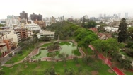 Aerial of LIMA with the skyline and a park in San Isidro. Peru. Stock Footage