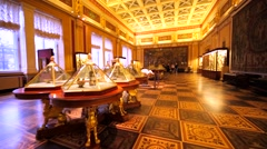 Walking in hall with amazing masterpieces in Hermitage Museum. St.Petersburg Stock Footage