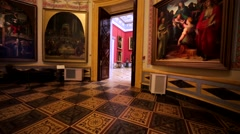 Amazing halls with pictures and huge vases in Hermitage Museum, St. Petersburg Stock Footage