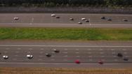 10 lane traffic, aerial Stock Footage