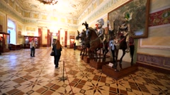Statues of medieval horsmen in plate armours in Hermitage Museum, St Petersburg Stock Footage