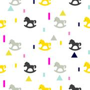 Rocking horse gray, pink and yellow kid pattern Stock Illustration