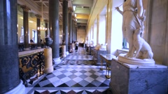 Walking along a corridor with antuque statues in Hermitage Museum, St Petersburg Stock Footage