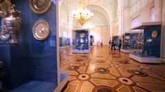 Walking in show room with amazing crockery in Hermitage Museum, Saint Petersburg Stock Footage