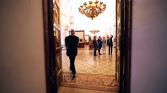 Amazing show room with pictures in Hermitage Museum, Saint Petersburg Stock Footage