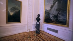 Panoramic view of hall with pictures and many tourists in Hermitage Museum Stock Footage