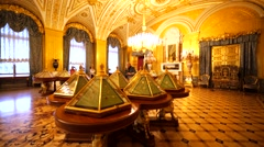 Beautifully decorated hall with triangular show windows in Hermitage Museum Stock Footage