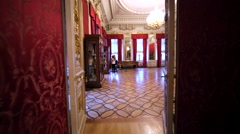 Interior of show room with crockery in cupboards in Hermitage Museum, Petersburg Stock Footage