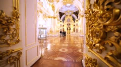 Interior of amazingly decorated show room in Hermitage Museum, St Petersburg Stock Footage