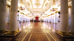 Throne room with great white columns in Hermitage Museum, Saint Petersburg Stock Footage