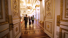 Interior of throne room with white columns in Hermitage Museum, St Peterburg Stock Footage