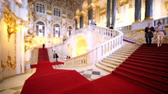 View of splendid staircase with red carpet in Hermitage Museum, Petersburg Stock Footage