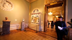 Panoramic view of the hall with exhibit items in Hermitage Museum, St Petersburg Stock Footage