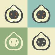 Vector outline pear icon with watercolor fill. Stock Illustration