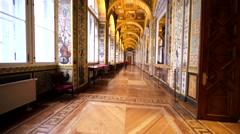 Walking along the amazing Raphael Loggias in Hermitage Museum, St Petersburg Stock Footage