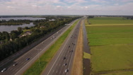 Traffic on highway in Holland, aerial fly along. Stock Footage