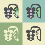 Vector outline blueberry icon with watercolor fill. Stock Illustration