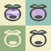 Vector outline plum icon with watercolor fill. Stock Illustration
