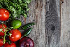 Ingredients for sauce Pico de Gallo, salsa fresca Stock Photos