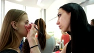 Beauty salon for women, correction, eyebrow for the girl makes the master make Stock Footage