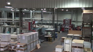Modern printing plant - factory building Stock Footage