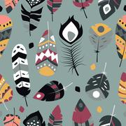 Seamless pattern with boho vintage tribal ethnic colorful vibrant feathers Stock Illustration