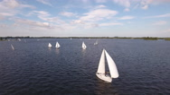 Sailboats on lake. Aerial approach shot. Stock Footage