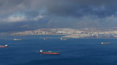 Time Lapse clouds and ships in Gibraltar bay Stock Footage