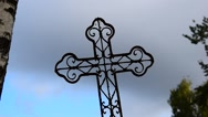 Old rusty cross on cemetery Stock Footage