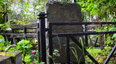 Stone grave in a cemetery Stock Footage