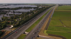 Busy highway in Holland. Aerial perspective. Stock Footage