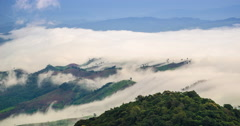 Cloud and foggy float over forest mountain in morning Stock Footage